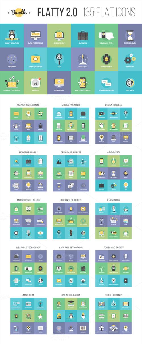 Vector Bundle of Flatty Icons 2 0
